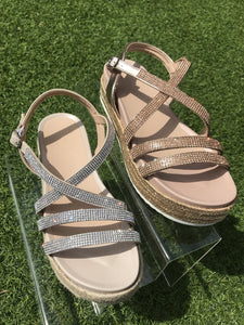 Diamanté Strap Flatform Sandals - Rose Gold/Silver