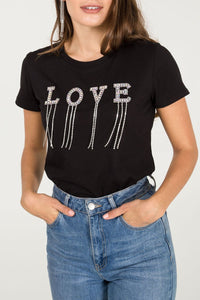"Diamanté ""LOVE"" Slogan Tee"