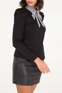 Dogtooth & Diamante Collar Top