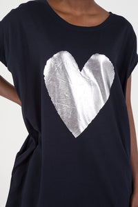 Metallic Heart Oversized Top