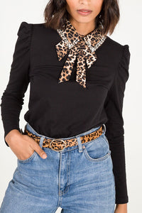 Leopard & Diamante Collar Top
