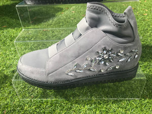 Jewel Flower Embellished Trainers - 2 Colours available!