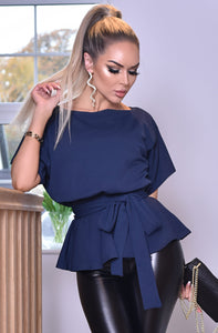 Peplum Belted Batwing Top