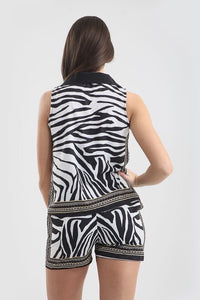 Zebra Print Contrast Co-Ord Set
