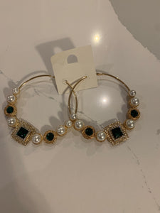 Gem Circles & Squares Large Hoop Earrings