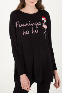 "Oversized ""Flamingo Ho Ho"" Christmas Jumper"