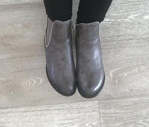 Grey Studded Ankle Boots