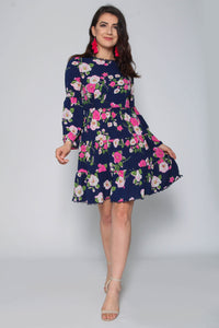 Bell Sleeve Floral Skater Dress