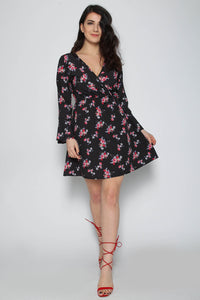 Polka Dot Floral Wrap Dress - 2 colours
