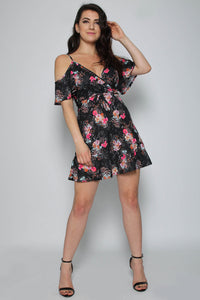 Floral Wrap Cold Shoulder Dress