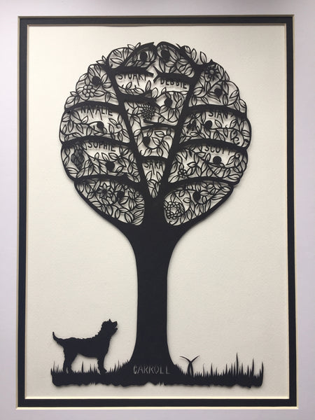 Hand Cut Stylised Family Tree