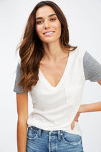 Load image into Gallery viewer, Kayla V-Neck Tee with Contrast Sleeve