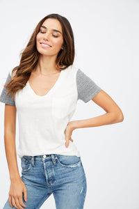 Kayla V-Neck Tee with Contrast Sleeve