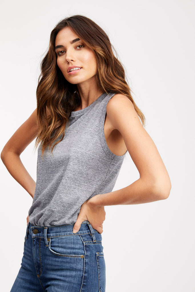 SOCIALITE Tilson Tank in Heather Grey Side View
