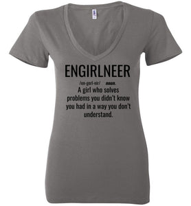 1B. Women's Low Tight V-Neck: ENGIRLNEER Definition Shirt - enGIRLneer - Products and Gifts for Engineering Women and Girls