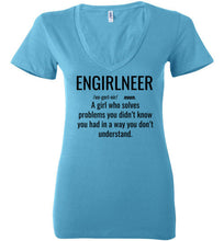 Load image into Gallery viewer, 1B. Women's Low Tight V-Neck: ENGIRLNEER Definition Shirt - enGIRLneer - Products and Gifts for Engineering Women and Girls