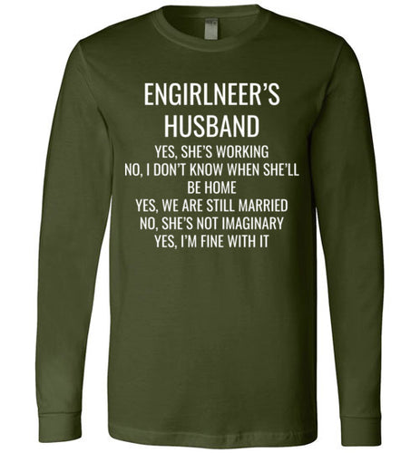 6A. Engirlneer's Husband Long Sleeve Shirt: YES,NO,YES,NO,YES - enGIRLneer - Products and Gifts for Engineering Women and Girls