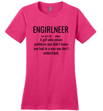 Load image into Gallery viewer, 1C. Women's Crew Neck Shirt: ENGIRLNEER Definition - enGIRLneer - Products and Gifts for Engineering Women and Girls