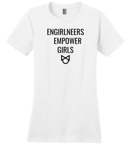 4A. Women's Crew Neck Tee: Engirlneers Empower Girls - enGIRLneer - Products and Gifts for Engineering Women and Girls