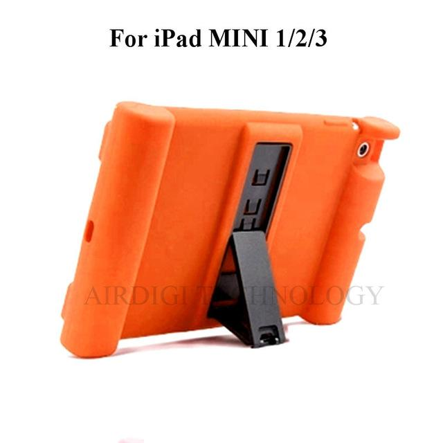 For iPad Mini 1/2/3 Kids Safe Shockproof Rubber Silicone Case Stand Cover With Kickstand