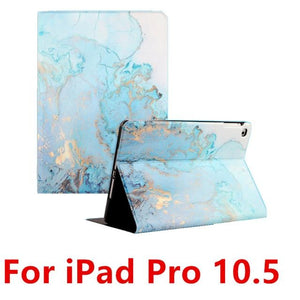 Silicone Soft Back Marble PU Leather Smart Cover For iPad