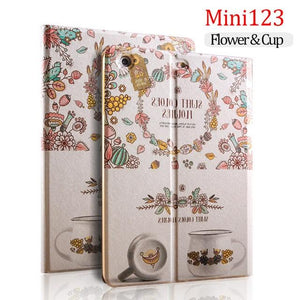 PU leather Printed Cute Girl Case For iPad