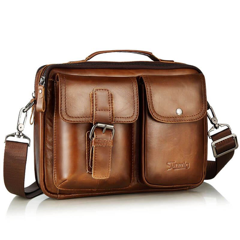 fd79e351b8 Men Leather Messenger Bag Shoulder Crossbody Bags for 10.5 tablet ipad –  Sunmig