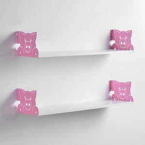 Funimal Nursery Floating Shelves (2-Pack), Pig Decorative Bracket