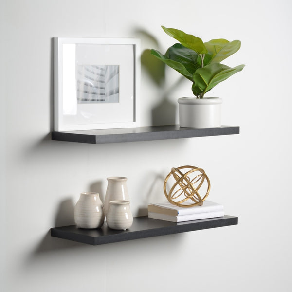 "Floating Shelves (2 Pack), Black, 1"" Thick, 2 Sizes Available"