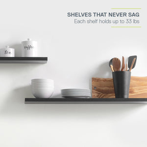 Floating Shelves (2 Pack) Black 1 Thick 2 Sizes Available Shelving