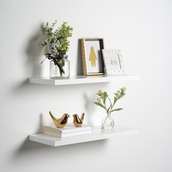 "Floating Shelves (2 Pack), White, 1"" Thick, 2 Sizes Available"