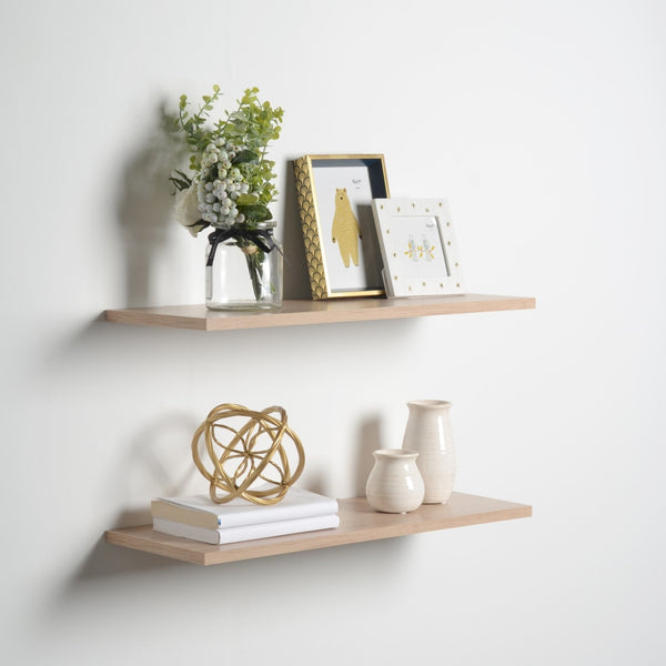 "Slim Floating Shelves (2 Pack), Light Oak, .5"" Thick, 3 Sizes Available"