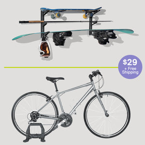 Instant Bike Floor Stand + Multi-Sport Wall Rack