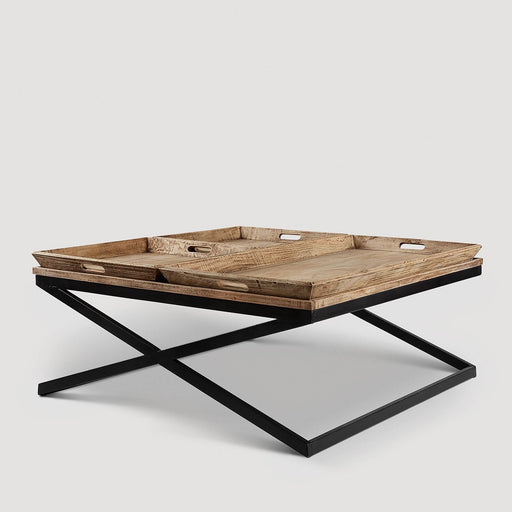 Swazi Coffee Table with Tray - Mango Wood