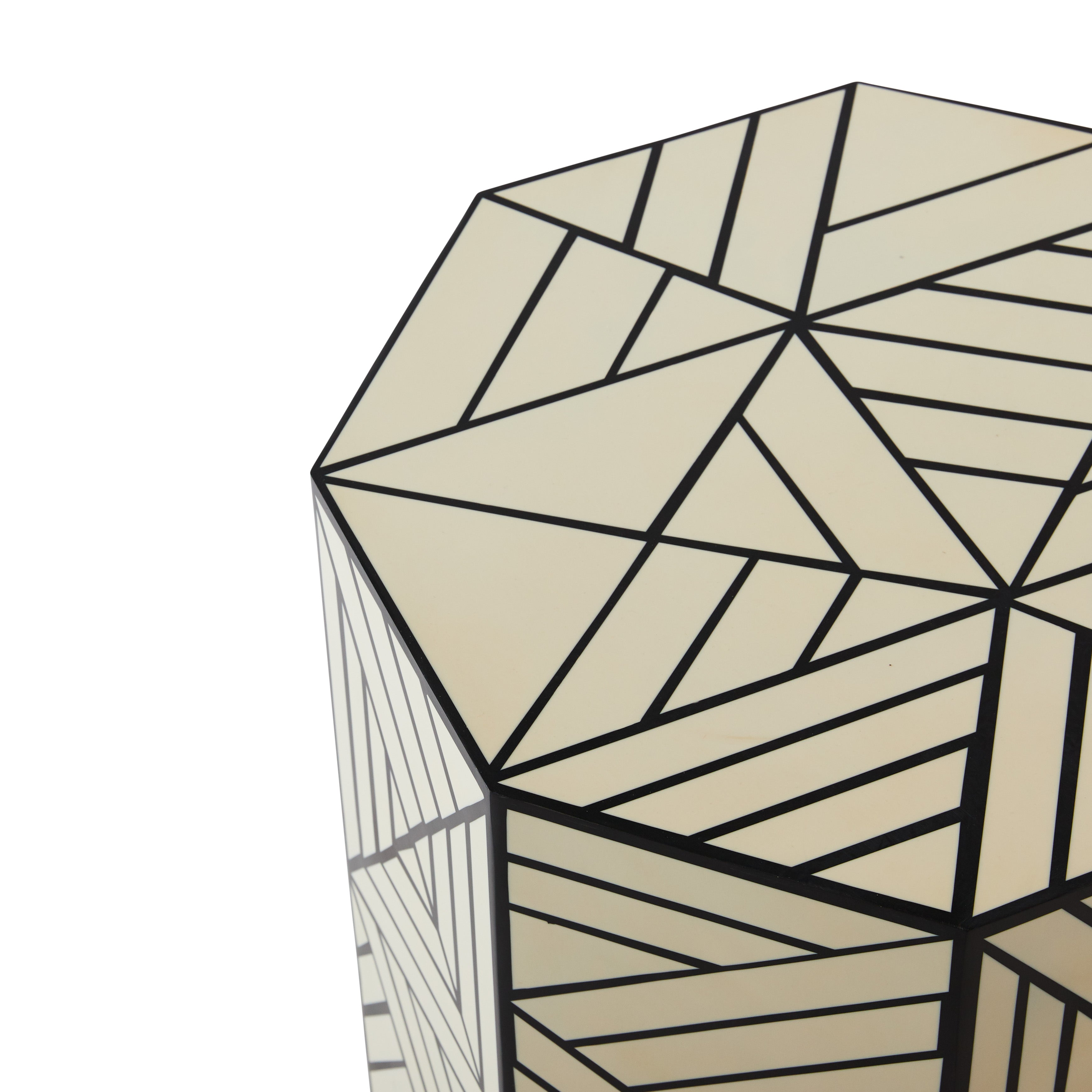 Hexagonal Black and White Resin Side Table DC
