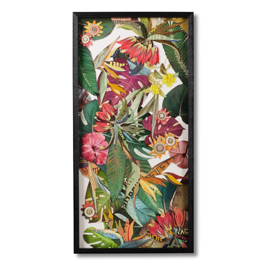 Tropical jungle framed paper collage