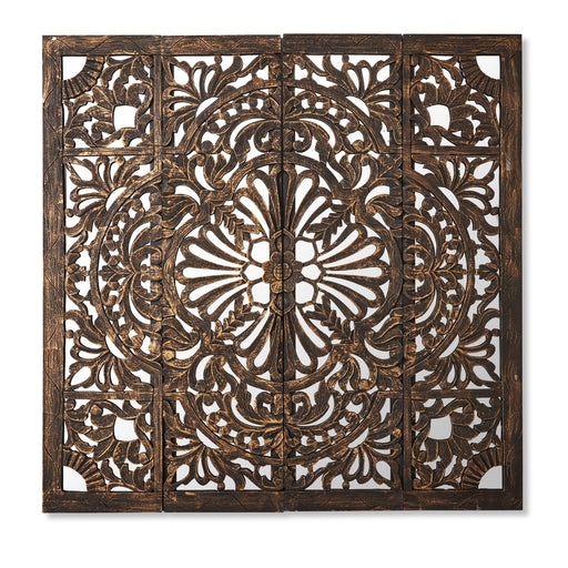 Carved flora wall panels