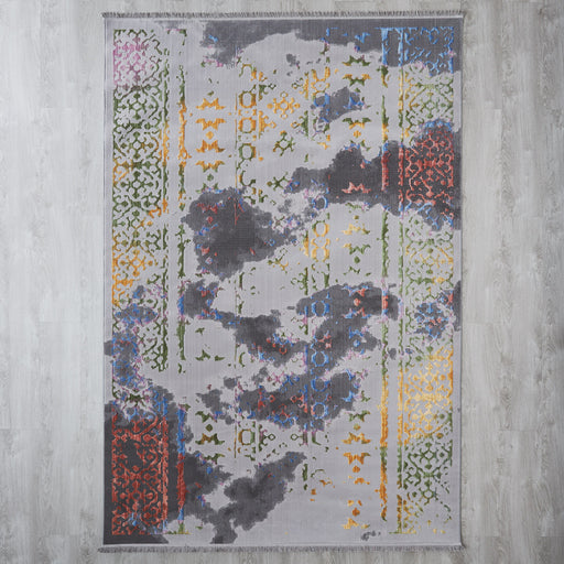Distressed border floor rug