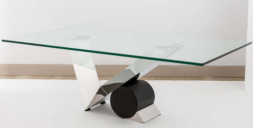Anais Asymmetric black coffee table with glass top