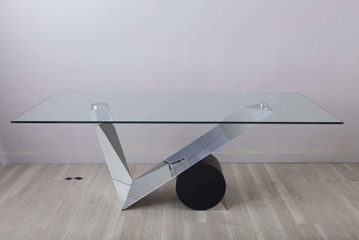 Anais Asymmetric black dining table with glass top