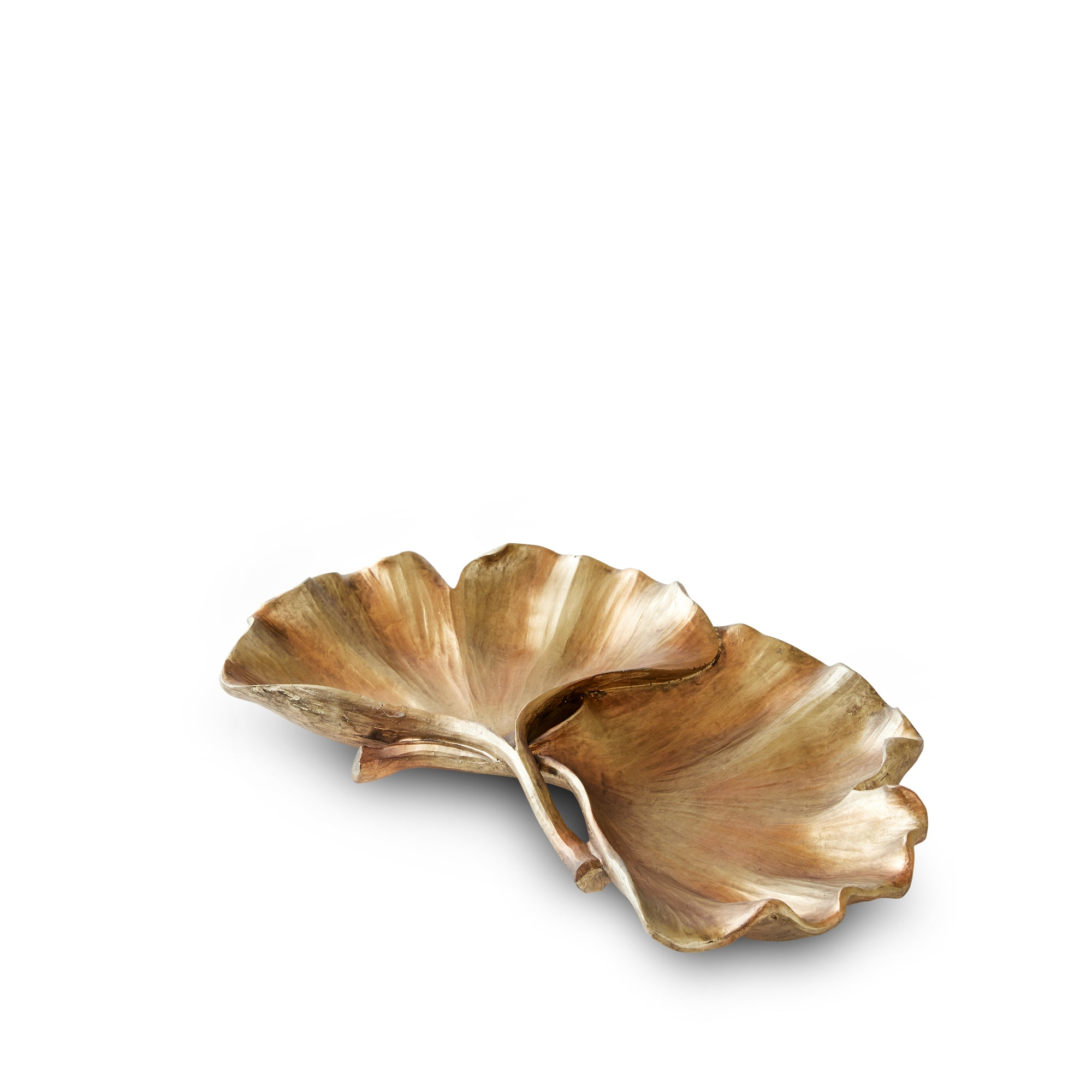 Antique gold ginkgo leaf plate
