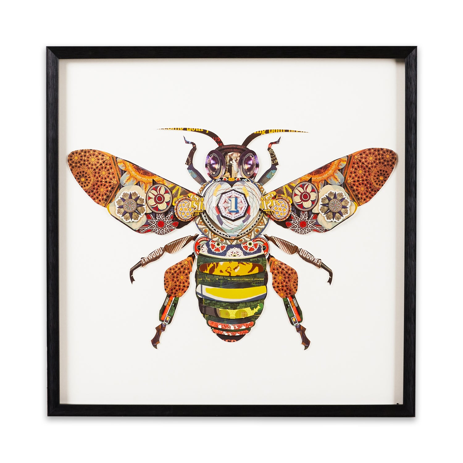 Bumble Bee framed paper collage