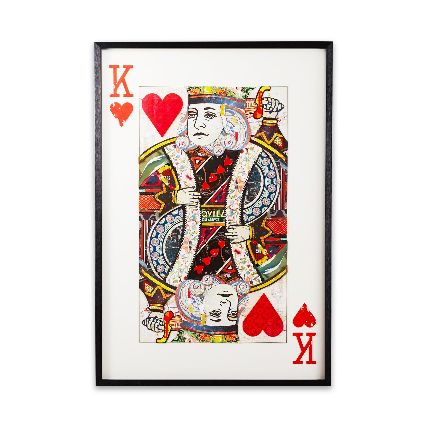 King of hearts framed paper collage