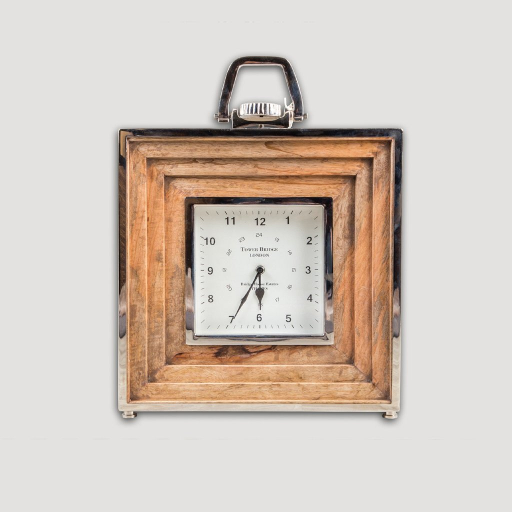 Cartier Table Clock Nickel Mango Wood