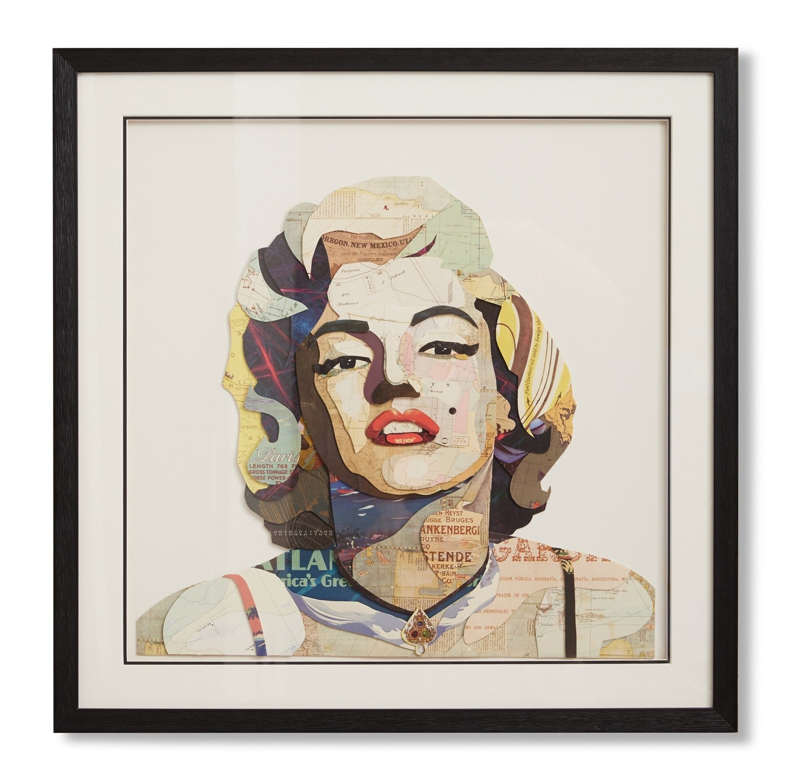 Marilyn Monroe framed paper collage DC
