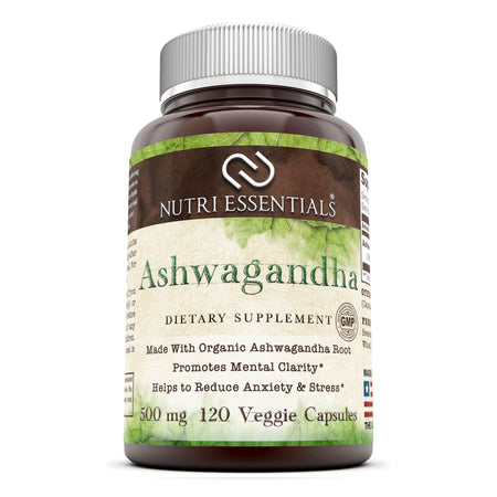 Nutri Essentials Ashwagandha Dietary Supplement  500 Mg 120 Veggie Capsules