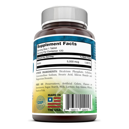 Nutri Essential Biotin Dietary Supplement 5000 Mcg 120 Tablets