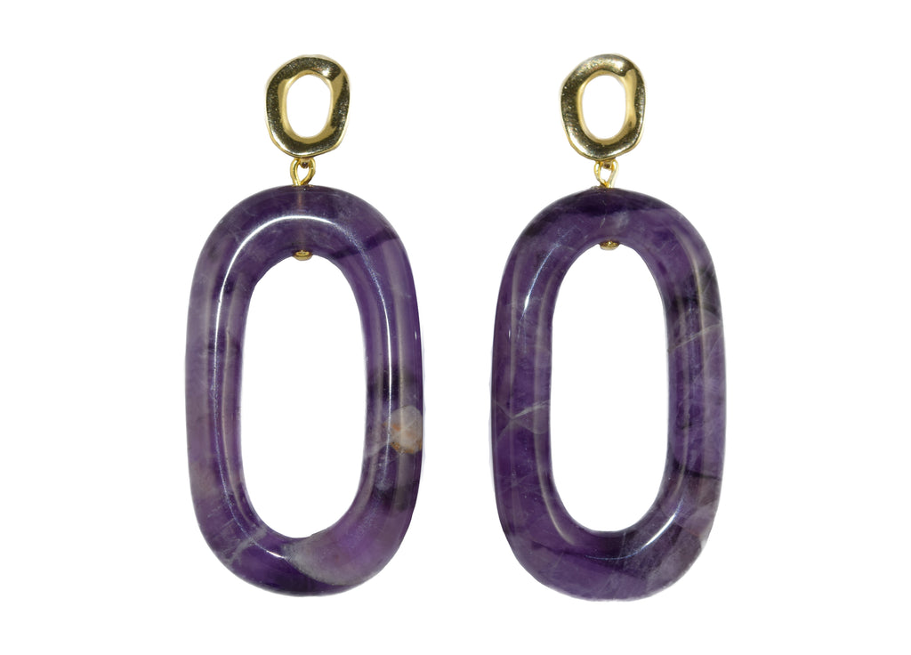 Amethyst Hoops | Gemstone | Gemstone Earrings