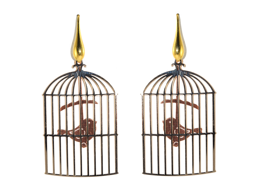Birdcage with rose gold bird | Gemstone Earrings