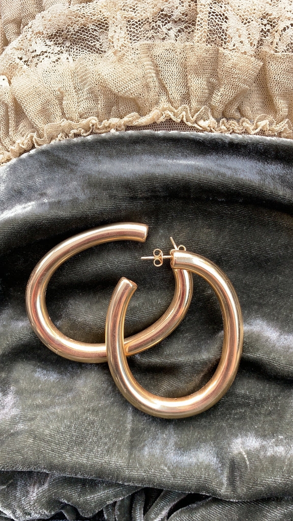Golden hoops | Gold Line Earrings